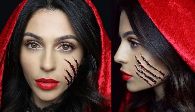 Dark red riding hood - scar makeup