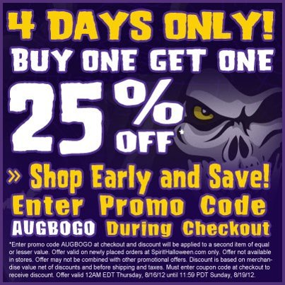 Spirit Halloween coupon - Buy One Get One 25% Off