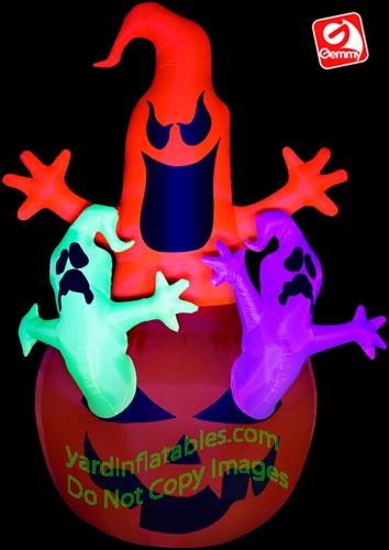 Name ghosts pumpkin neon black light gemmy airblown inflatable 64266
