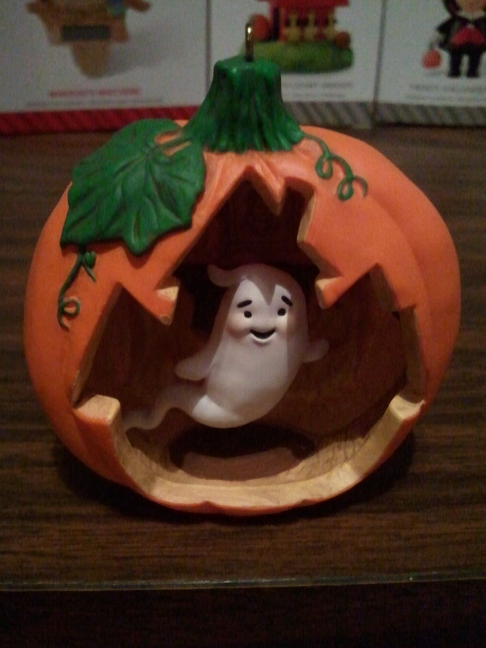 hallmark ornament pumpkin ghost 2014jpg - Hallmark Halloween Decorations