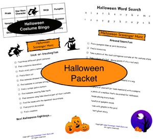 Halloween Scavenger Hunt Packet and Halloween Costume Bingo just ...
