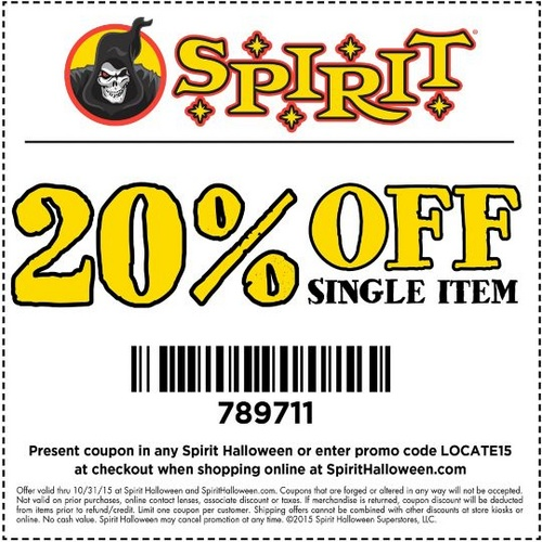 Sprit Halloween 20% off coupon for 2015