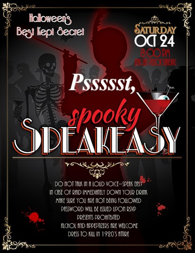 Spooky Speakeasy Halloween 2015 Invitations Save The Date And