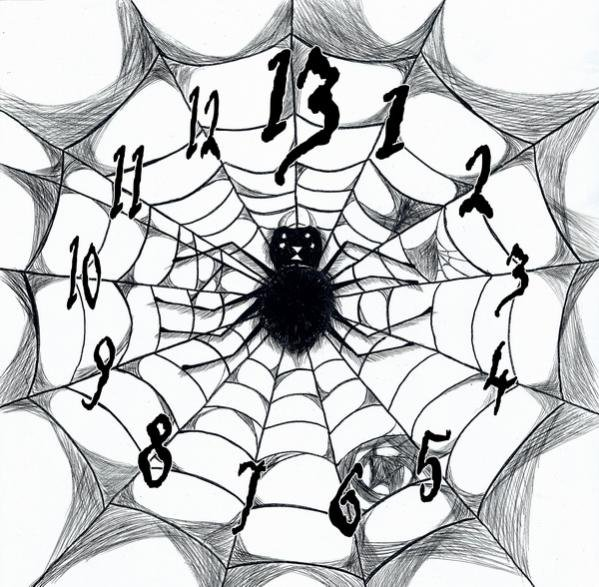 13 numbered Spider Clock Face