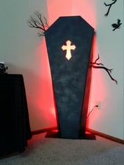 coffin with red light