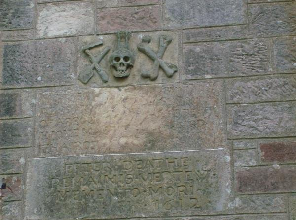 on the wall of the church