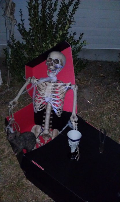 Skelly boozing it up in his coffin....