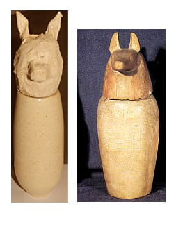 The mummy's intestines would have been stored in the jackel headed canopic jar, mine left, museum right.