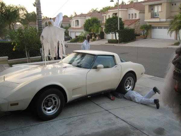 "This year we used my old vette to ""crush"" a guy with kicking legs and a remote controlled voice box with a message saying ""Help, Help!!"