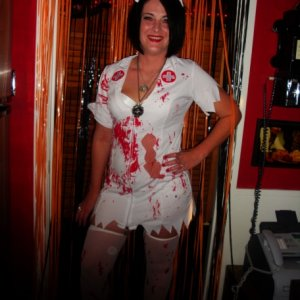 My sexy wife Kym as the bloody and deadly nurse !!!!