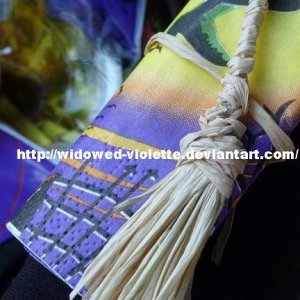 Home made Broom Napkin Rings with Raffia plus Napkins - For primitive/witch atmosphere