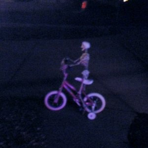 Skeleton riding my daughter's bike