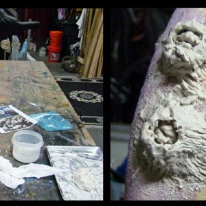 Sculpt barnacles with DAS clay.