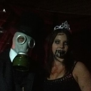 "Omar (the ""masked"" magician) and Heather (his helper)"