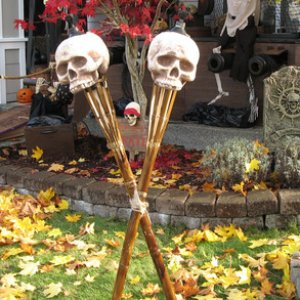 Skull tiki torches