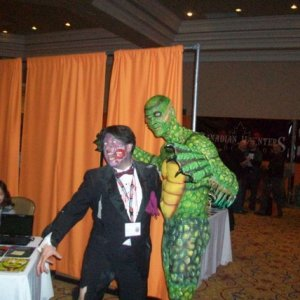 John with Creature From The Black Lagoon - body painting competition model