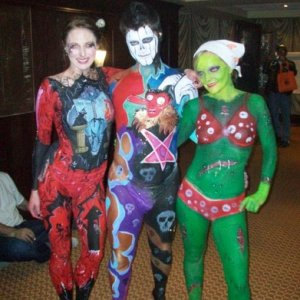 Other models from the Body Painting competition.  The gentleman in the middle had Frankenstein and his castle on the back of him.