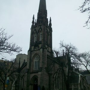 A stop on the Haunted Walk of Hamilton.  Story of the haunted church bells.   Love the Gothic spires and steeple designs!