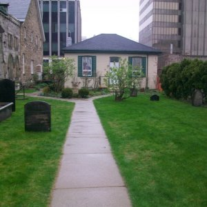 The only little graveyard in downtown historic Hamilton - beside the church.