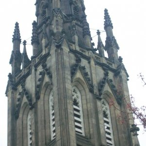 Close up of the steeple and design.