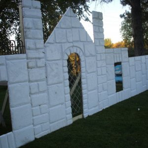 "We also re-used this ""castle"" ) minus the skulls) for our Santa's workshop in our Christmas yard display as well"