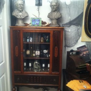 Grim Grining Busts and spooky apothocary collection.