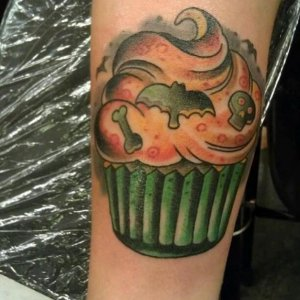 Halloween cupcake tattoo I got at Seattle Tattoo Expo