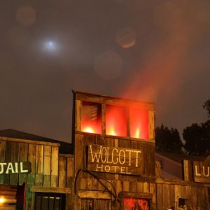 The Wolcott Hotel, The Jail and the Lumber Mill. The Lumber Mill is the entrance to the Wicked Maze.