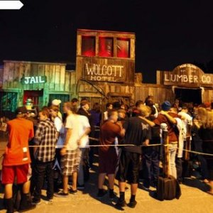 Crowd waiting in line to enter the Wicked Maze. Many nights the wait is 45 minutes to an hour long..