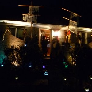 pirate ship facade in front of house