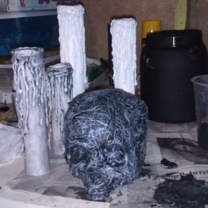 paper mache skull and very messy work area lol