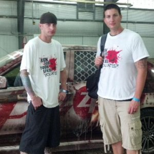 My hubby and friend with the zombie getaway vehicle