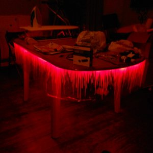 My blood dripping kitchen table. A blood wall runner with red leds taped under the table.