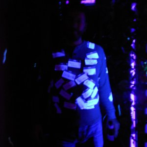 friend playing in the black light