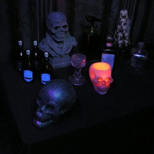Potions and skulls.