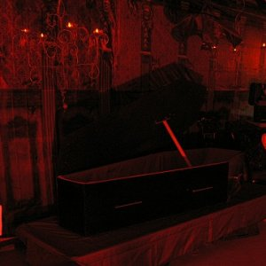Overall first room with Dracula's coffin. We had a live actor as Dracula.