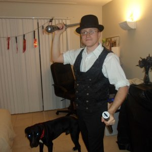 My dear husband, channeling Jack the Ripper, and his faithful hellhound, Bam