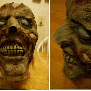 Different views of repainted mask .