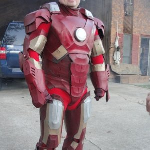 Me trying to be Tony Stark this Halloween.  What do you guys think of the suit?  I made it myself.  Never did get the Helmet finished in time, though.