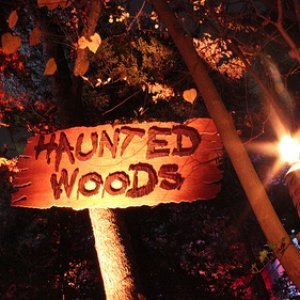 Haunted woods sign