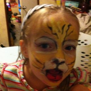 "my first tries doing facepainting Sierra ""Tiger"""