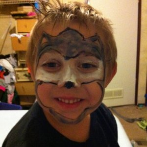 "my first tries doing facepainting Edward ""Sonic"""