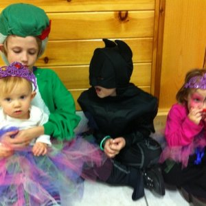 My 4 monsters on Halloween William- Yoshi River and Sierra- fairy princess Edward- Batman