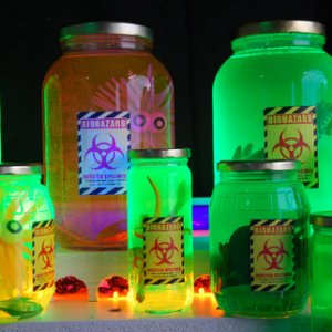 Alien Specimen Jars.  Worked great with a highlighter filter as the color agent!