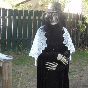 My Woman in Black prop.   See my youtube channel to see how I built her for under 20$!