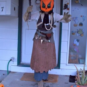Harvester scarecrow costume in its first incarnation (hoping to get to the many elements I didn't get to for 2013, including adding some gore and a re