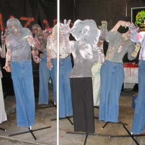 These are zombie I built using www.letarget.com zombie shooting targets on a cardboard backing.  Added some pants and a PVC stand.  Very easy to make