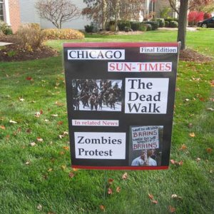 Super easy build and got a lot of laughs.  Black posterboard used to make a zombie apocalypse newspaper marquee.
