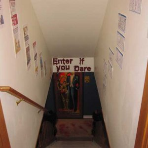 Entrance down to the basement.  Included some comical zombie cartoons leading down.