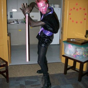 Glam Rock Darth Maul! My buddy was Glam Obi-Wan. We dueled.